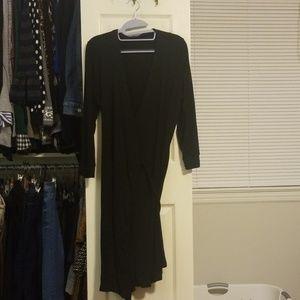 Wendy William's Plain Black Wrap Dress